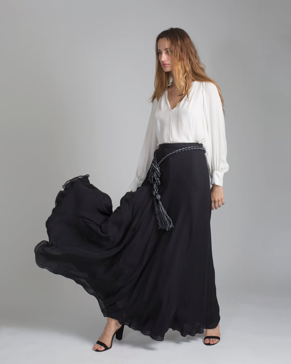 Double Layer Long Chiffon Skirt