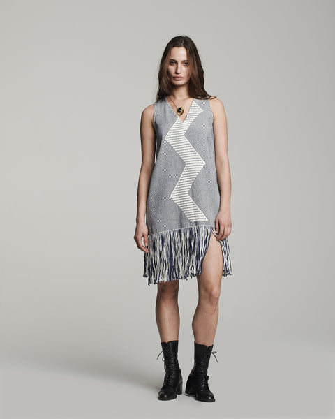 Zig Zag Dress - Indigo