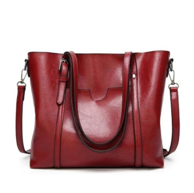 Sac à main en cuir rouge - bordeaux - leather handbag red