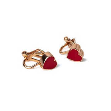 Ava Heart Enamel Clip Earrings (Gold, Silver and Rose Gold)