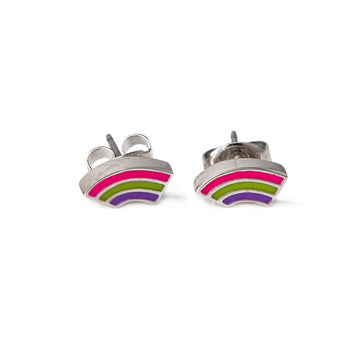 Brooke Enamel Rainbow Pierced Stud Earrings (Gold and Silver)