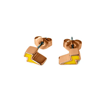 Emme Enamel Lighting Bolt Pierced Stud Earrings (Gold, Silver and Rose Gold)