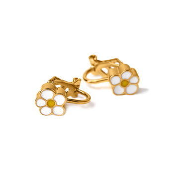 Daisy Enamel Clip Earrings (Gold and Silver)