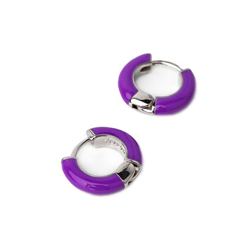 Lovey Enamel Huggie Mini Hoop Pierced Earrings (Multiple Colors)