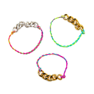 Molly Metal Chain and Neon Braided Stretch Bracelet (Gold or Silver)