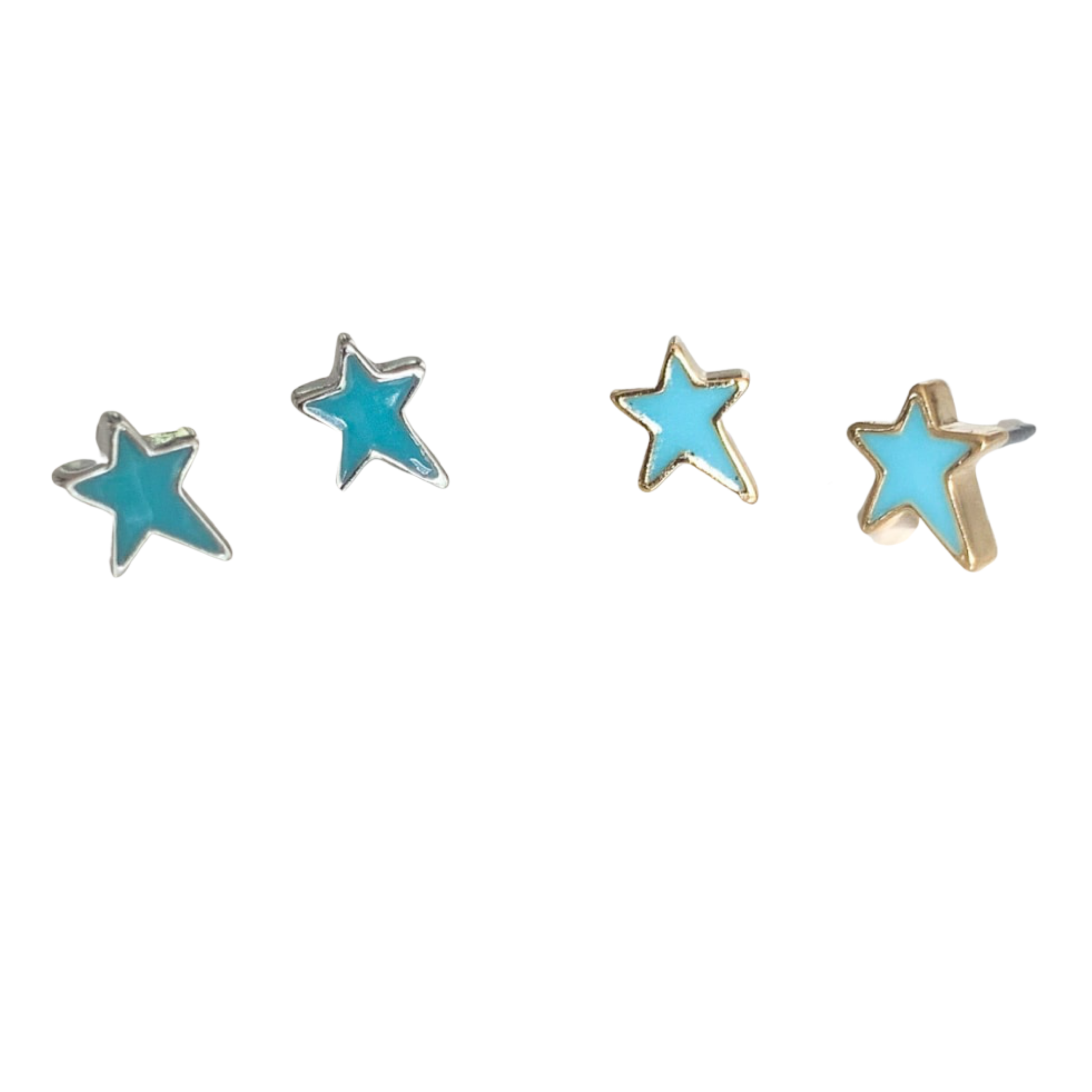 Shana Enamel Star Pierced Stud Earrings (Gold and Silver)