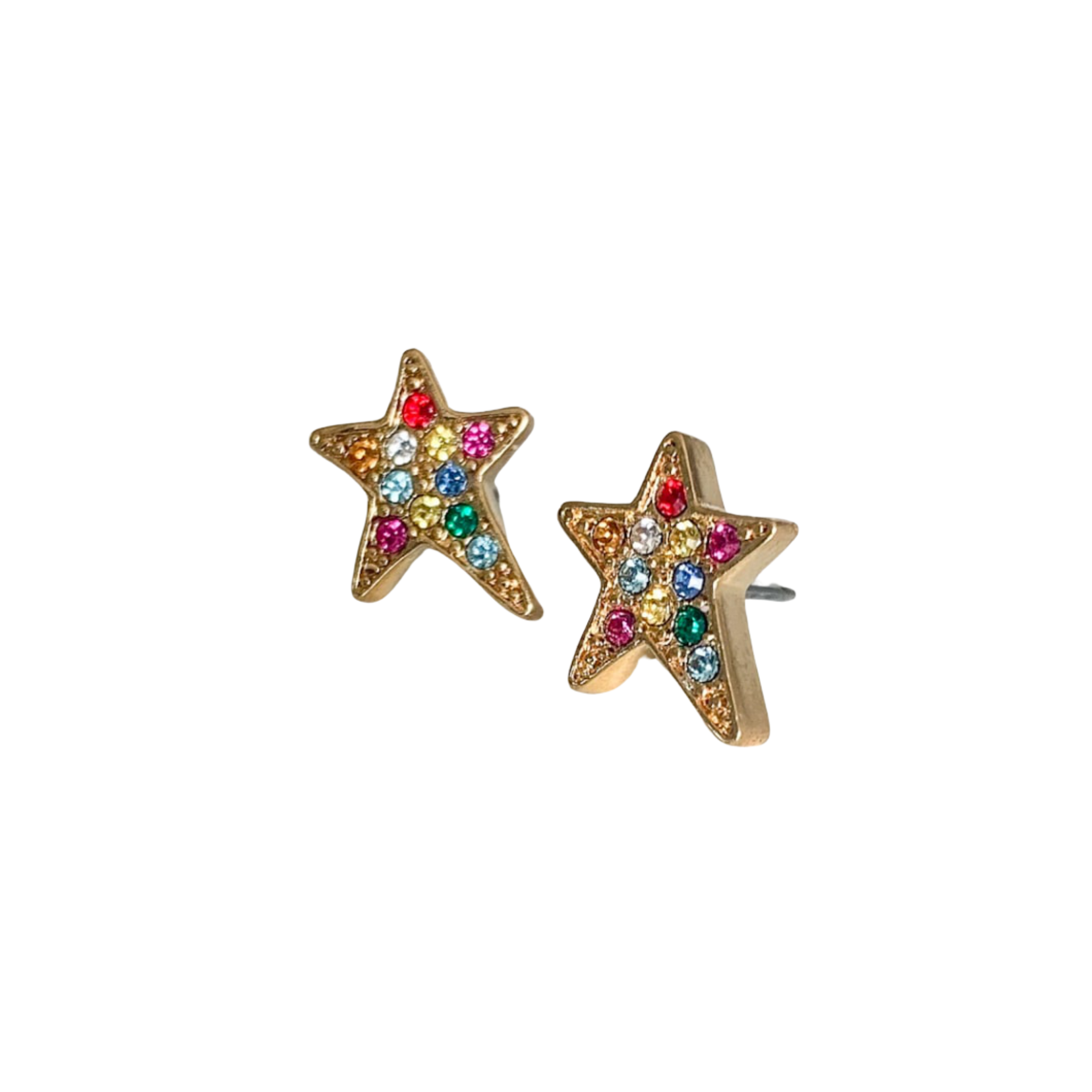 Shana Large Rainbow Crystal Star Pierced Stud Earrings (Gold and Silver)