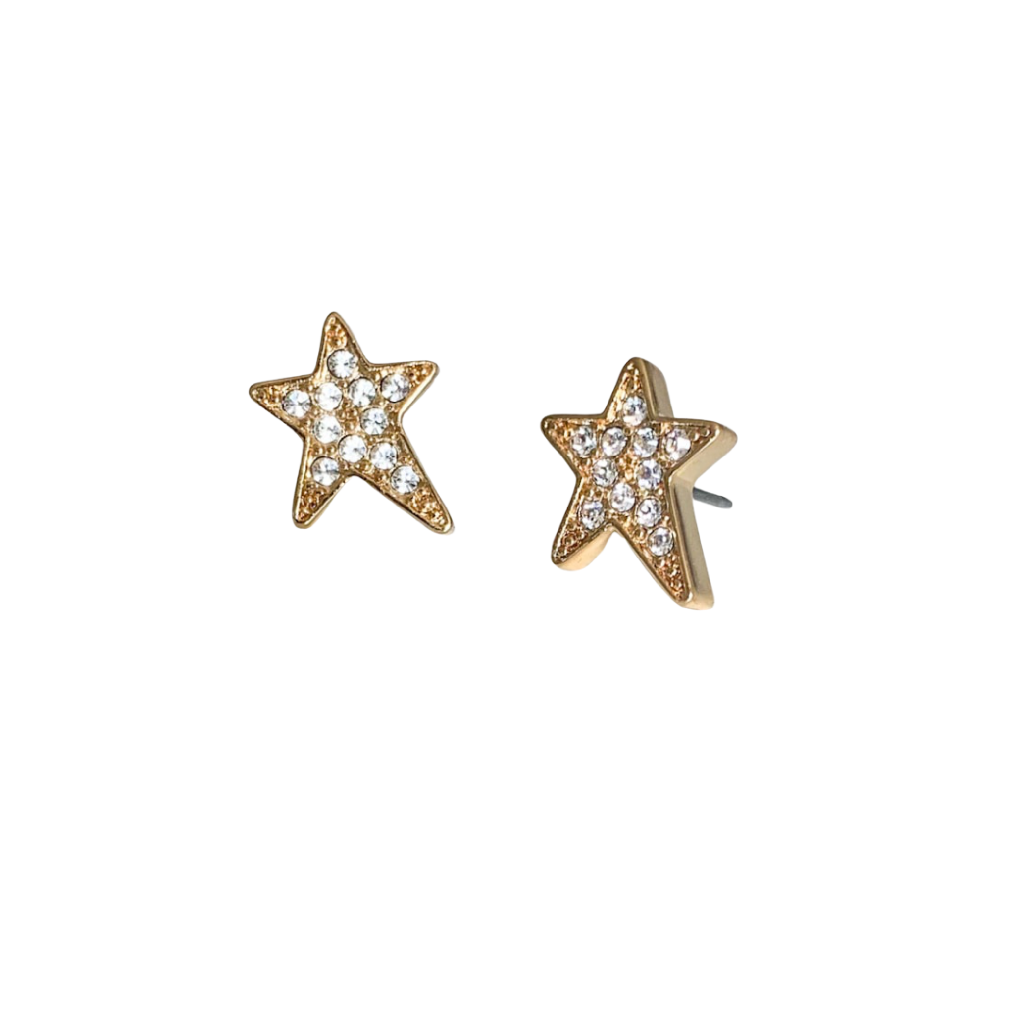 Shana Large Clear Crystal Star Pierced Stud Earrings (Gold, Silver and Rose Gold)