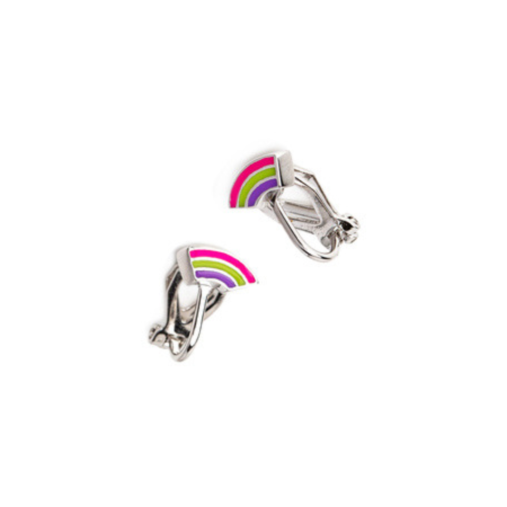 Brooke Enamel Rainbow Clip Earrings (Gold and Silver)