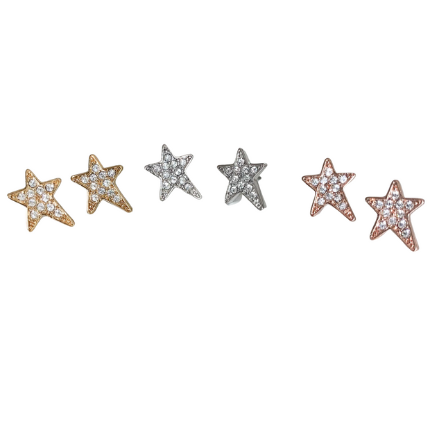 Shana Large Clear Crystal Star Pierced Stud Earrings (Gold, Silver and Rose Gold) 1