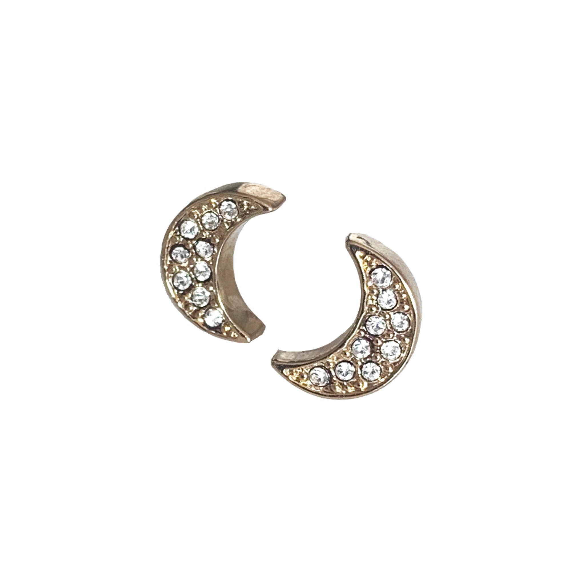 Mandy Clear Crystal Moon Pierced Stud Earrings (Gold, Silver and Rose Gold)