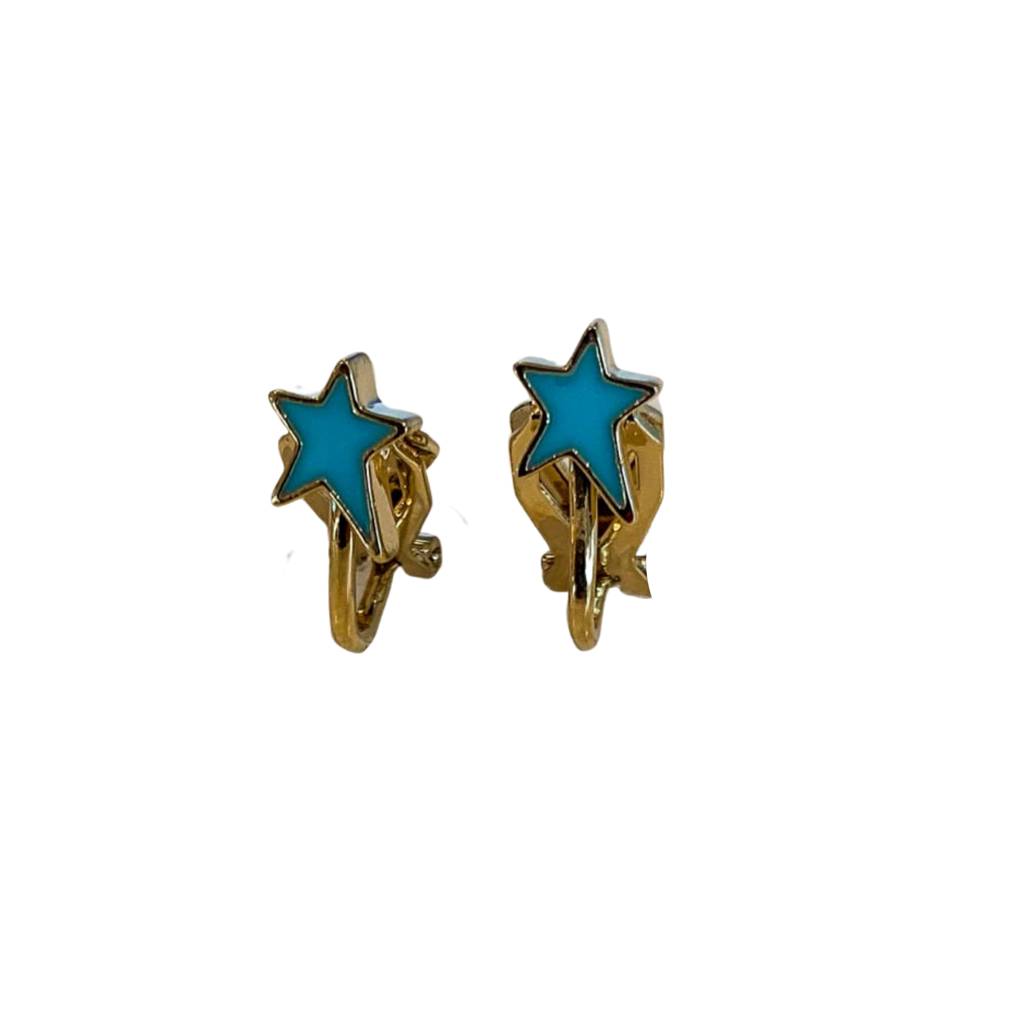 Shana Enamel Star Clip Earrings (Gold and Silver)