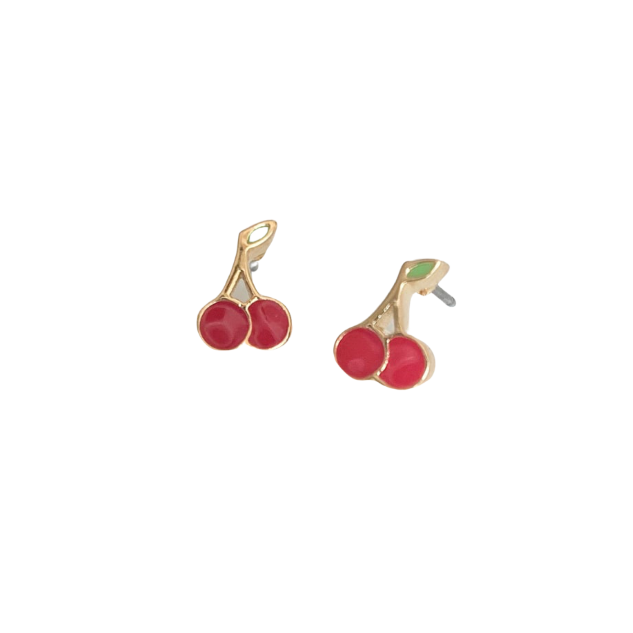 Somers Enamel Cherry Pierced Stud Earrings (Gold and Silver)