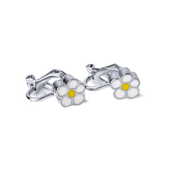 Daisy Clip Earring and Scrunchie Set (Gold and Silver)