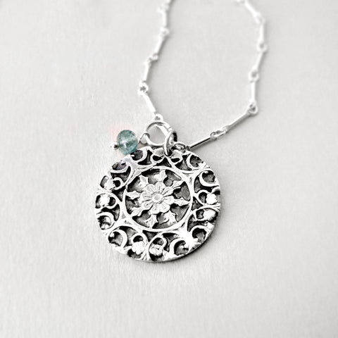 Fine silver and aquamarine necklace