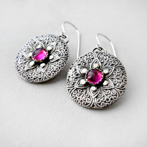 fine silver and ruby earrings