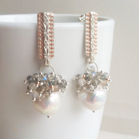 fancy bridal pearl drop earrings with gemstones and silver