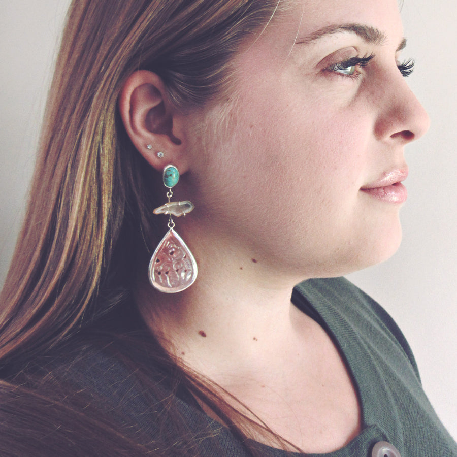Turquoise & Rhodonite Chandelier Earrings