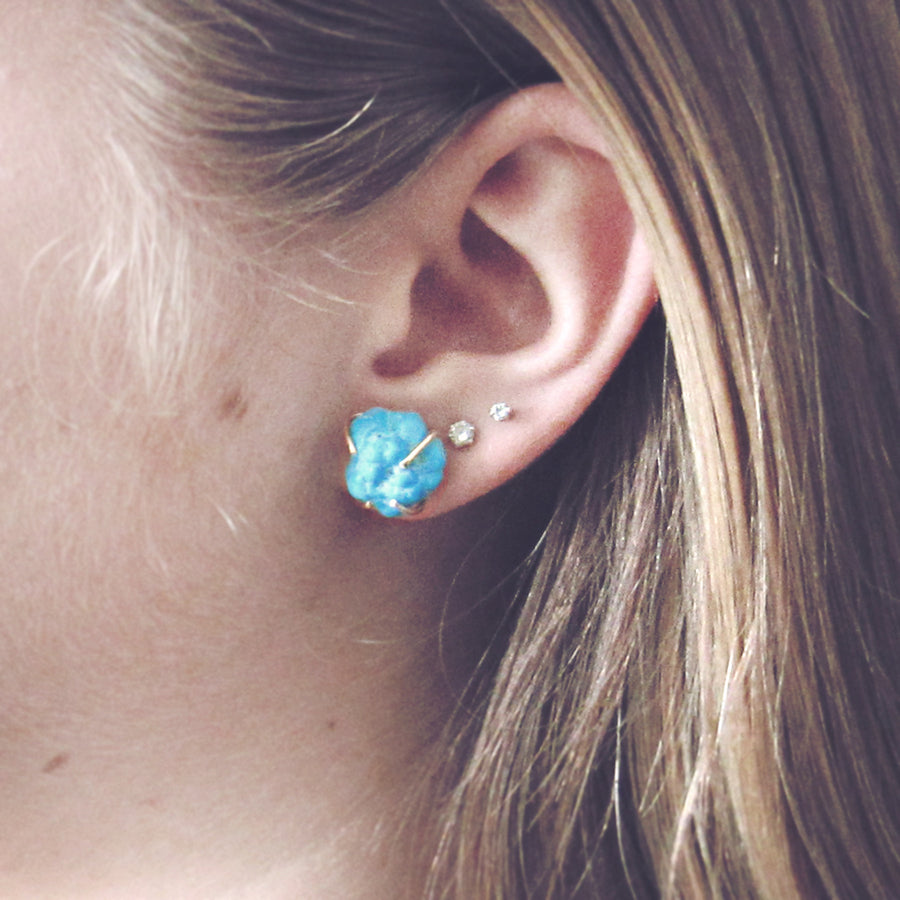 Turquoise & 14k Gold Stud Earrings