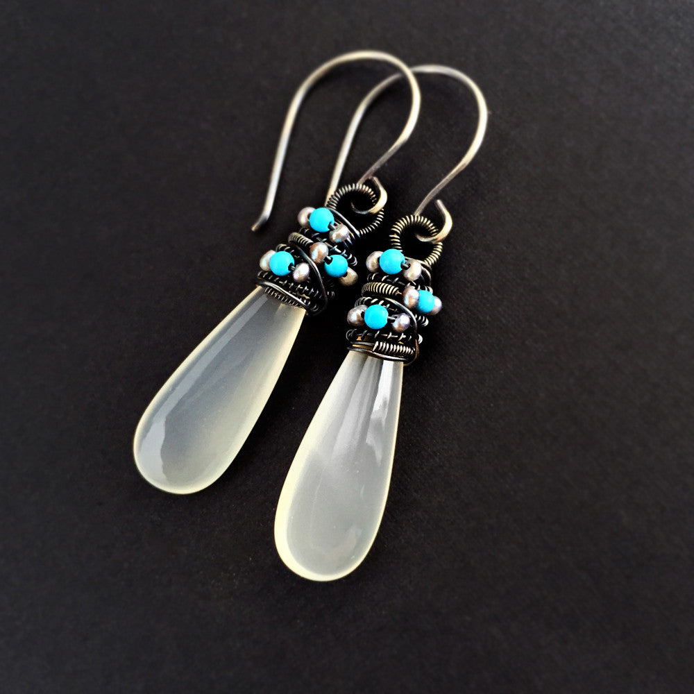 Peyton Earrings - White Chalcedony