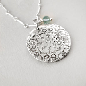 Fine Silver & Aquamarine Necklace