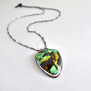 green turquoise and sterling silver pendant necklace by Kristina Henning