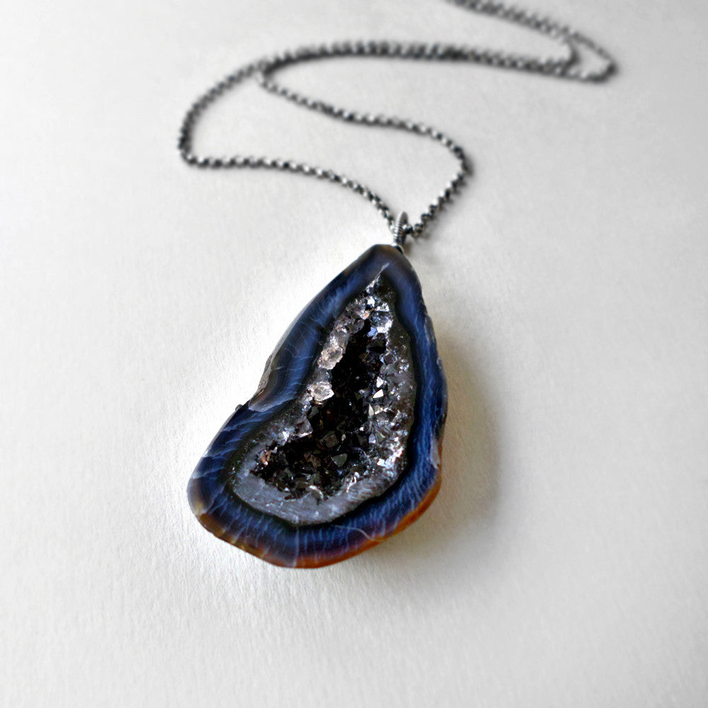necklace blue lapis navy rhodium hi stone res cleo gemstone statement