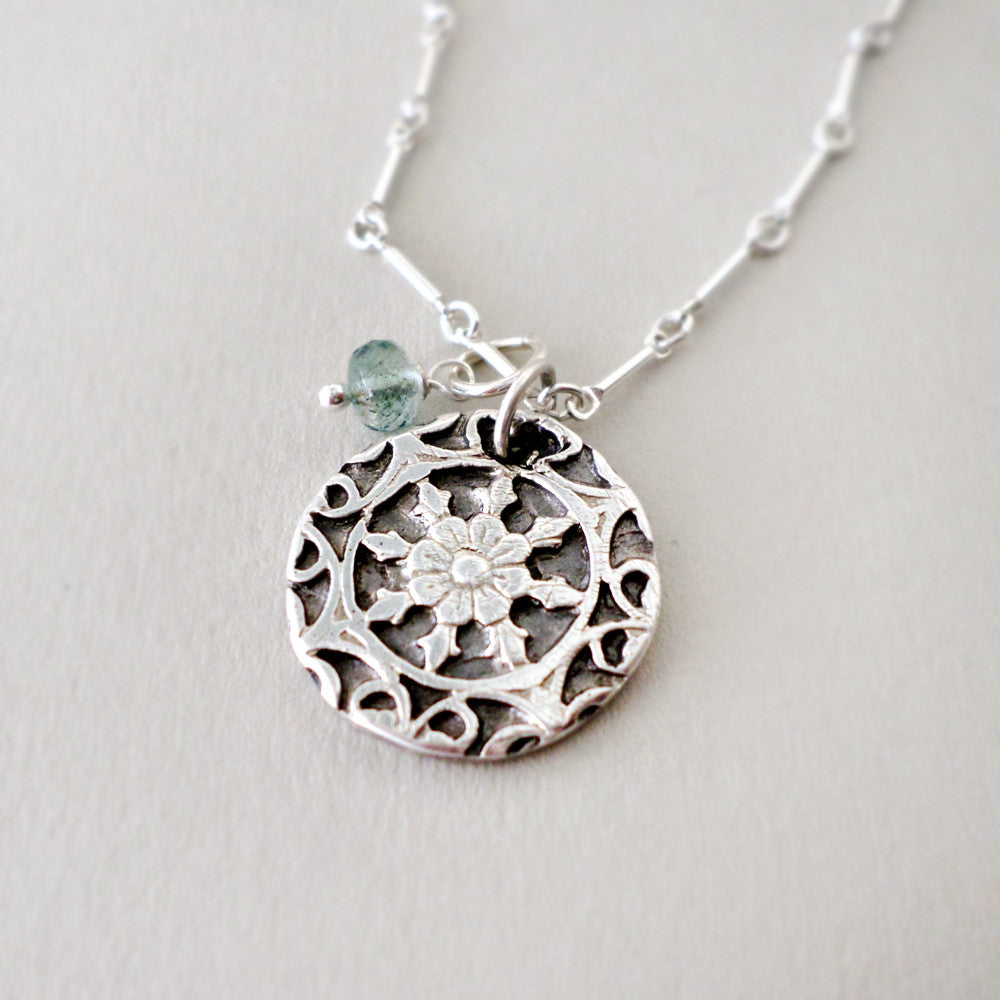 Fine Silver & Aquamarine Necklace - Medium