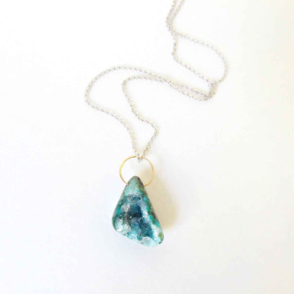 Chrysocolla Gold Ring Necklace