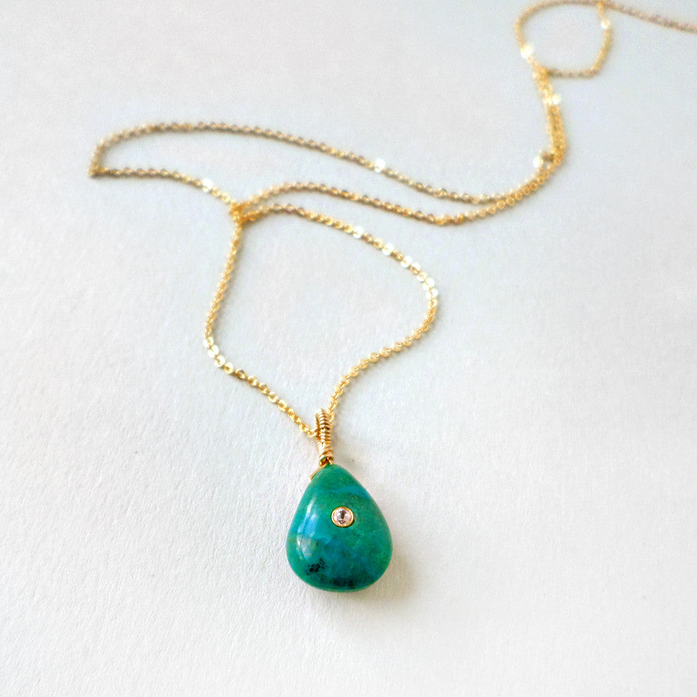 long gold layering necklace with blue green chrysocolla stone pendant