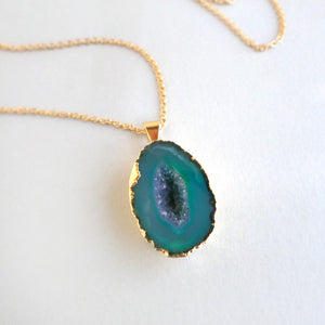 Teal Geode Necklace