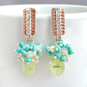 Stella Earrings - Prehnite & Turquoise