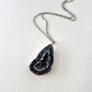 Navy Geode & Silver Necklace