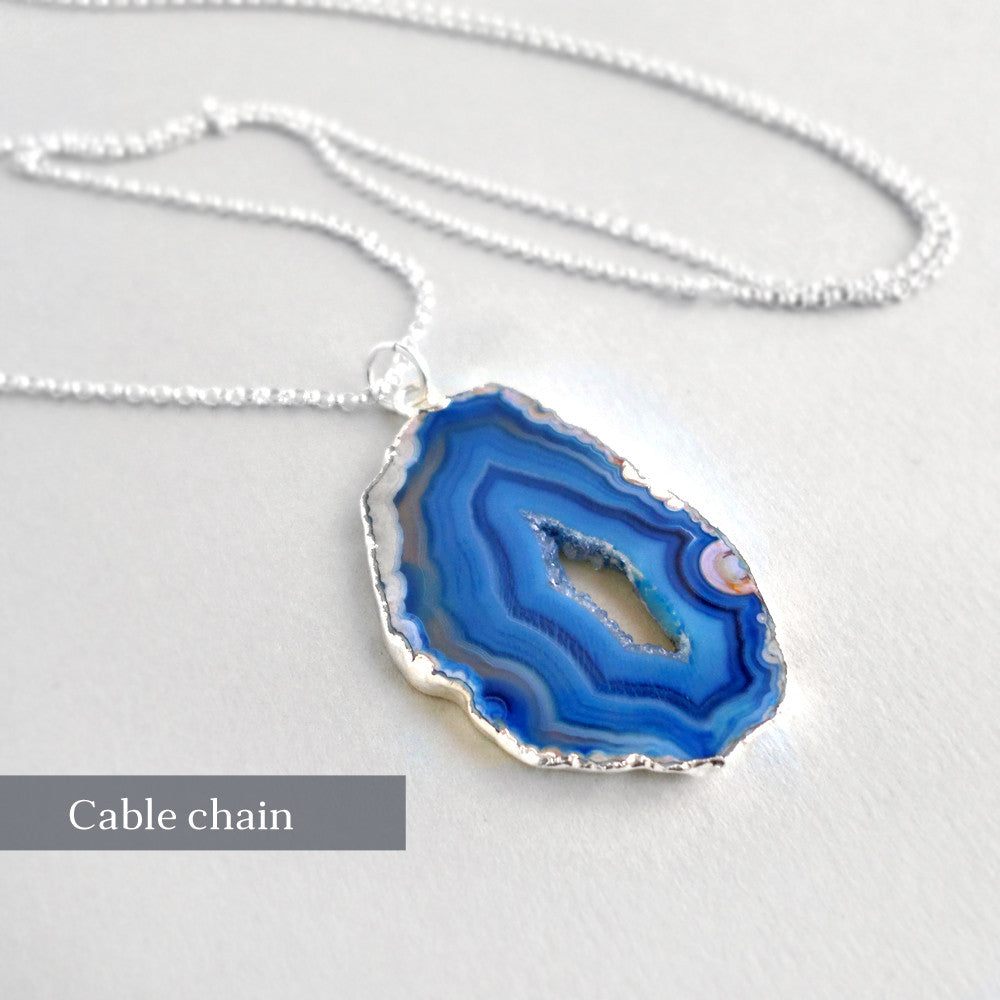 Druzy Silver Necklace