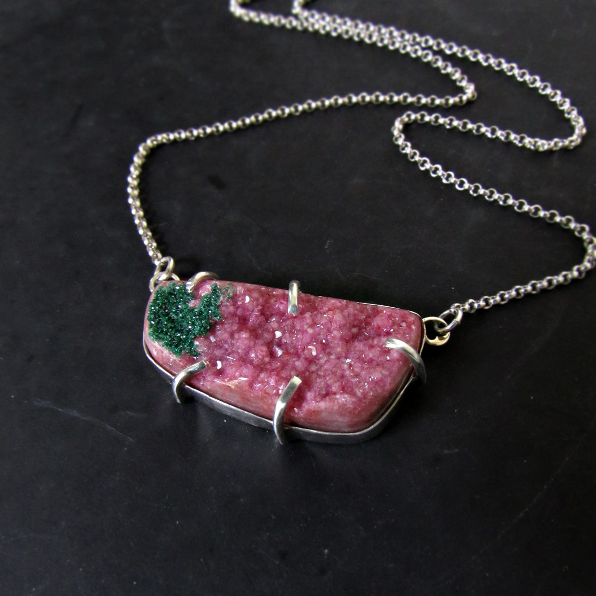 Pink Druzy & Silver Necklace