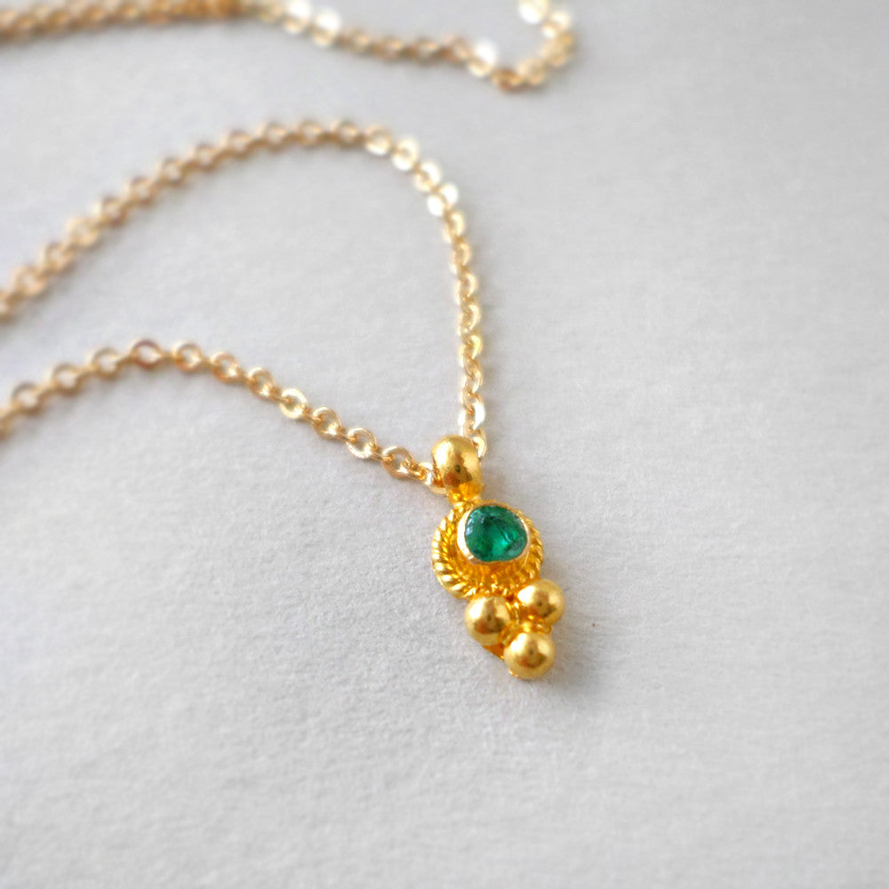 emerald and gold necklace - May birthstone jewelry
