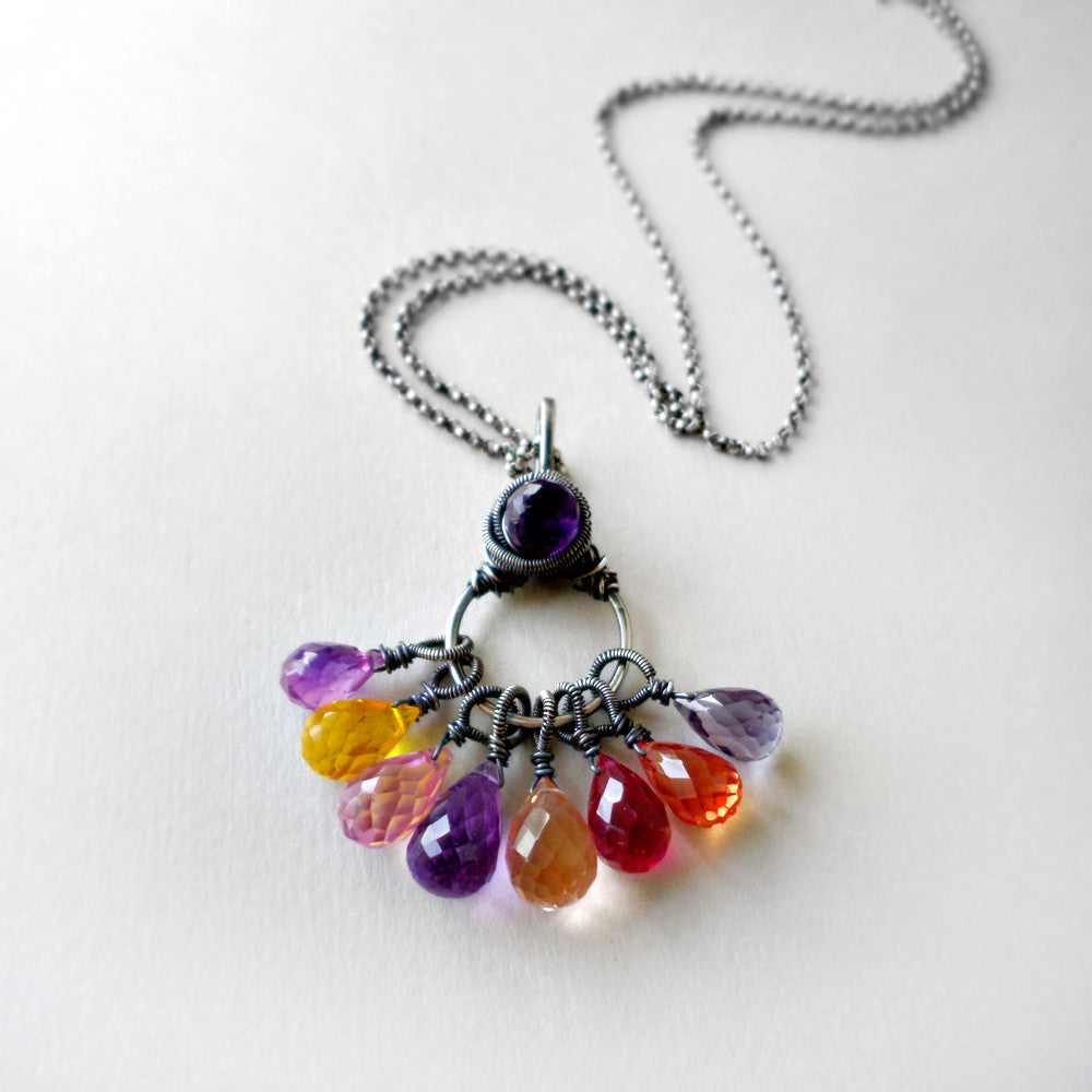 Colorful Quartz & Silver Necklace
