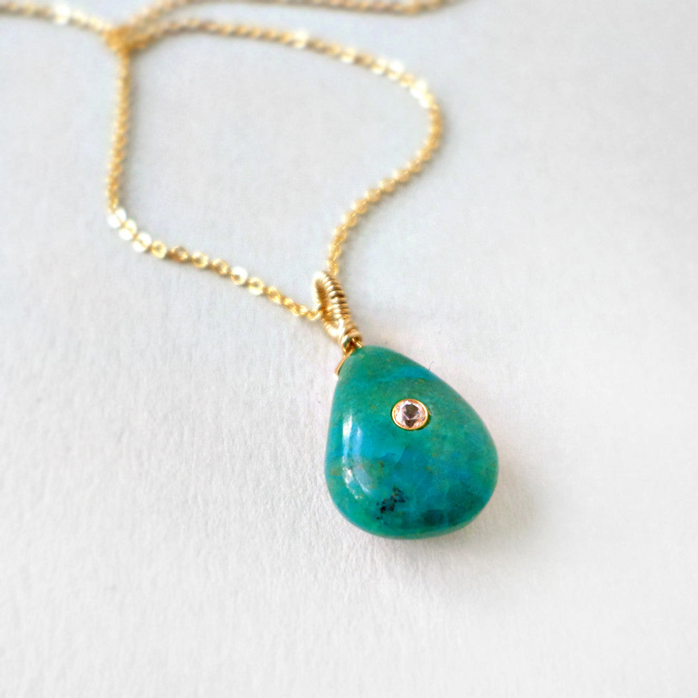 blue green chrysocolla gemstone pendant necklace in gold