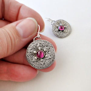 Fine Silver & Ruby Earrings
