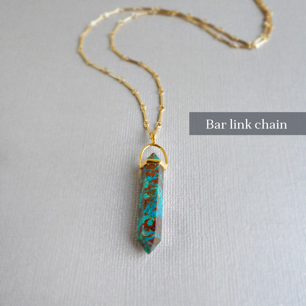 Chrysocolla Gold Point Necklace