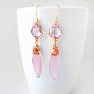 Long pink gemstone earrings with rose gold, pink amethyst and chalcedony