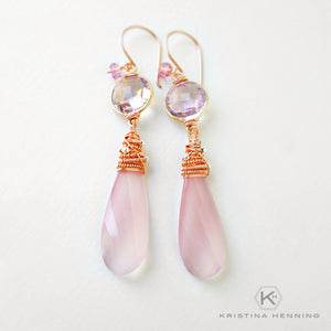 Pink amethyst, chalcedony and rose gold wrapped stone earrings