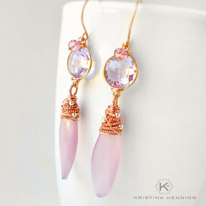 Pink stone drop earrings wire wrapped with rose gold