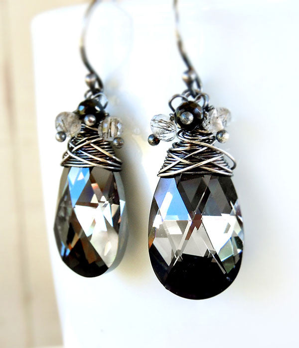 Black Swarovski Crystal and Sterling Silver Earrings