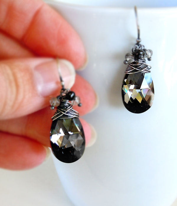 Black Crystal drop earrings with silver wire wrap