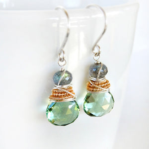 Sage Green Gemstone Drop Earrings with Labradorite, Silver and Gold
