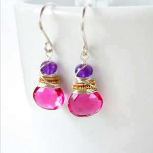 hot pink and purple gemstone drop earrings wire wrapped with silver