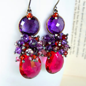 Purple amethyst, hot pink topaz, red garnet drop gemstone earrings in silver