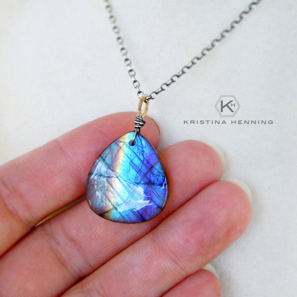 labradorite gemstone and sterling silver necklace