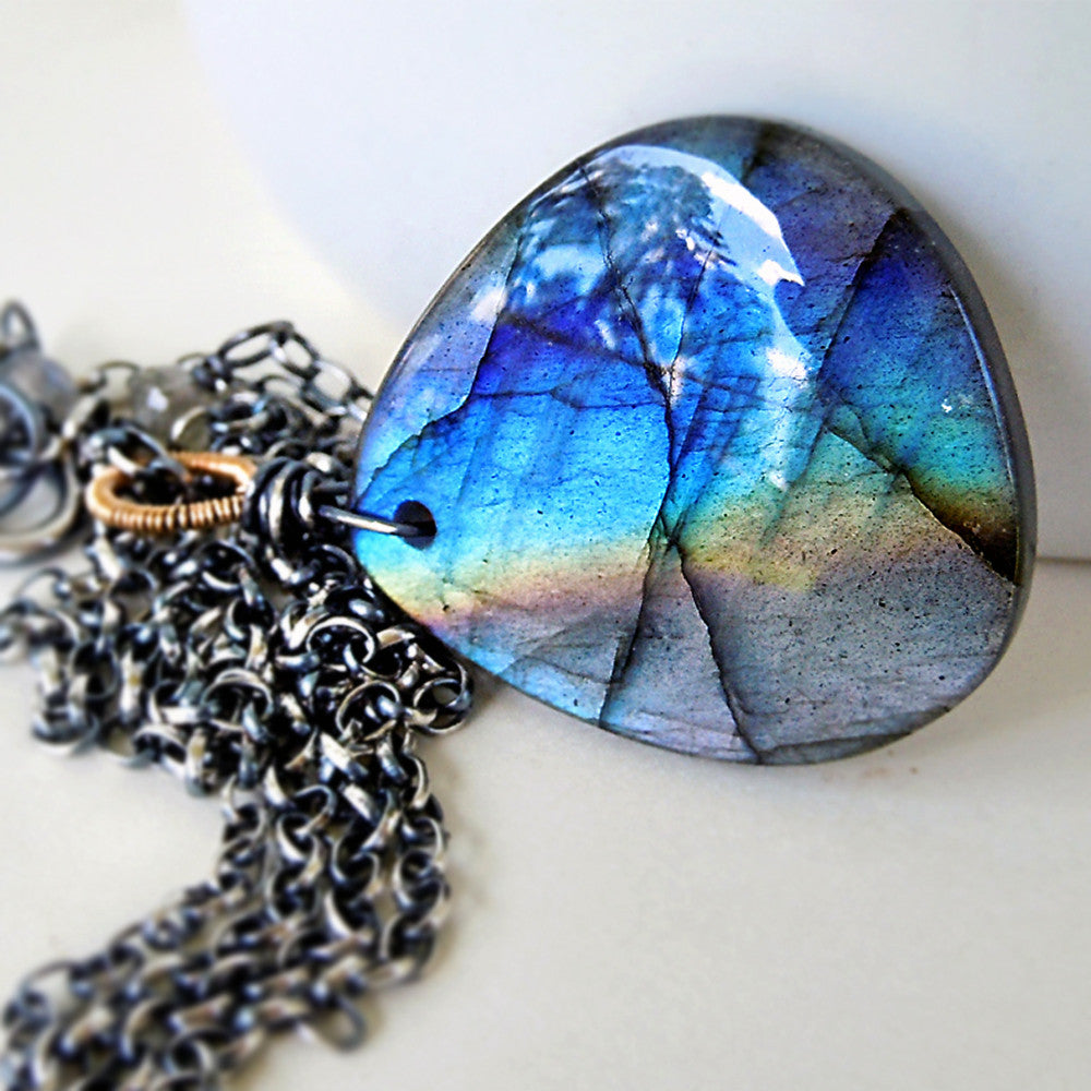 rainbow labradorite and sterling silver pendant necklace